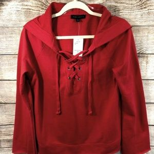 Sanctuary Women Washed Lace UP Hoodie Red Size S